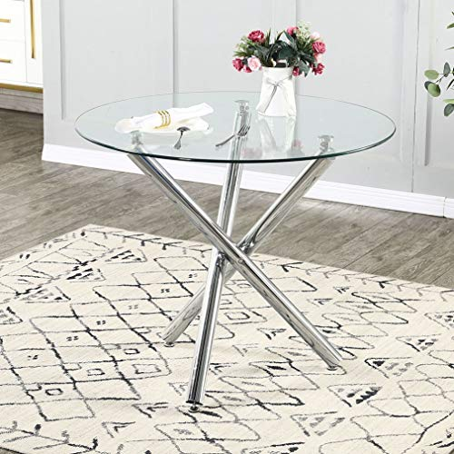 Bacyion Round Dining Table with Tempered Glass Top - Modern Glass Dining Table Tea Coffee Table Office Kitchen Table Dining Room Table with Chrome Legs, 35.4 Diameter