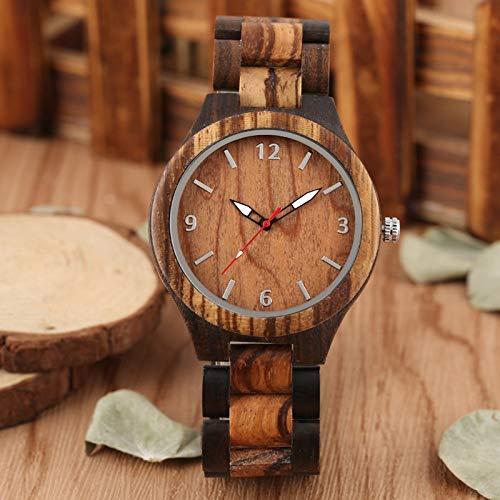 GIPOTIL Retro Watch Simple Ebony Wood Watch Men Clock Man Adjustable Wooden Band Analog Quartz Wristwatches Gift Watch Reloj para Hombre,Watch in Box