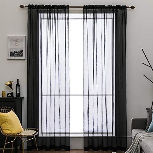 MIULEE 2er Set Voile Vorhang Transparente Gardine aus Voile Polyester Schlaufenschal Transparent Wohnzimmer Luftig...