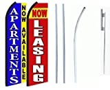 Now Leasing, Apartment Now Available Standard Size Swooper Feather Flag Sign with Full Assembly Pole and Ground Spike Pk of 2