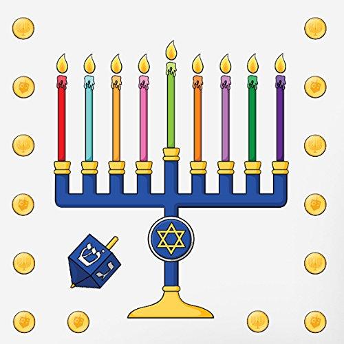 Oliver's Labels Hanukkah Menorah Gelt & Dreidel Wall Decals Peel and Stick Removable Reusable Decoration