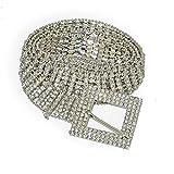 TCross Cinturón de mujer con diamantes de imitación, cadena fina y ancha de cristal para novia (longitud del cinturón: 105 cm, color: botón cuadrado)