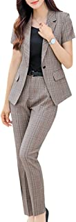 Women's 2 Piece Plaid Blazer Suits Short Sleeve Office Lady Work Suits Women Business Blazer Jacket and Pant Suits