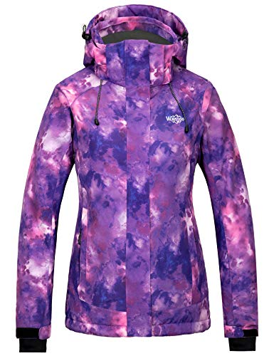 Wantdo Women's Waterproof Ski Jacket Windproof Insulated Rain Jacket Purple M