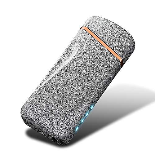 【KOOWLUK】 Accendino elettrico al plasma ricaricabile USB - Accendino antivento per esterni - Accendino USB senza fiamma • Regalo di festa (argento satinato)