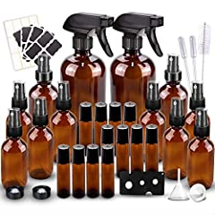☆Package Included: 2*16 Ounce amber glass spray bottles with 3 black trigger sprayers and 2 caps, 10(4/2 ounce) glass mist bottles with mist sprayers, 16 Black chalk labels, 24 Blank White Labels, 12 10 ML Roller Bottles with 1 Roll-on Bottle Opener....