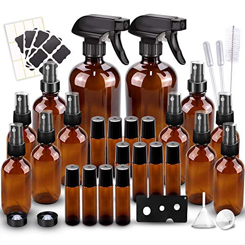 ☆Package Included: 2*16oz amber glass spray bottles with 3 black trigger sprayers and 2 caps, 10(4/2oz) glass mist bottles with mist sprayers, 16 Black chalk labels, 24 Blank White Labels, 12 10 ML Roller Bottles with 1 Roll-on Bottle Opener. 1 Clean...