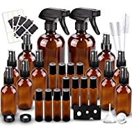 Glass Spray Bottles Kits, BonyTek Empty 12 10 ml Roller Bottles, 12 Amber Essential Oil Bottle (2 x 16oz,2 x 4oz,8 x 2oz) with Labels for Aromatherapy Cleaning Products