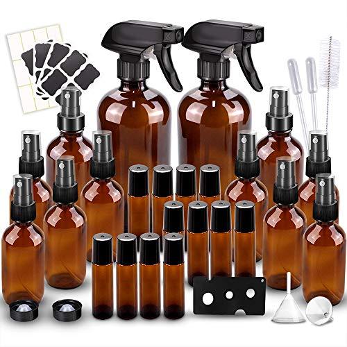 Glass Spray Bottles Kits, BonyTek Empty 12 10 ml Roller Bottles, 12 Amber Essential Oil Bottle(2 x...