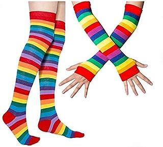 thematys Medias de Rodilla para Brazos y piernas en diseño Arco Iris - Calcetines y Guantes Retro para niñas y Mujeres
