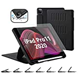 TSOMEI CASE for New iPad Pro 11 Inch 2nd&1st Generation 2020/2018 with Tempered Glass Screen Protector - 7 Angles Magnetic Stand +Premium Synthetic Leather +Pencil Wireless Charging - Sleep/Wake Cover