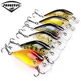 Avis de pêche de marque 6pc Proberos Exporté au Japon 3 '-7.6cm Embout de pêche 12.75g Crankbait 6 accessoires de pêche couleur 8 # Crochet