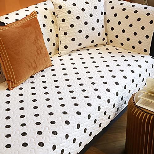 ZSDCG Funda de sofá para muebles, toalla de sofá con lunares negros y blancos, fundas de sofá seccionales de algodón, fundas de sofá para sala de estar