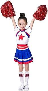 LOLANTA Disfraz de Animadora niña Rojo, con Vestido y Pompones Calcetines Altos Media