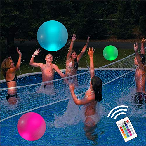 Pool Toys 16' Glow in Dark LED Beach Ball Toy, 16 Color Changing Floating Pool Lights, Outdoor Pool Beach Glow Party Games and Decorations (1PC)