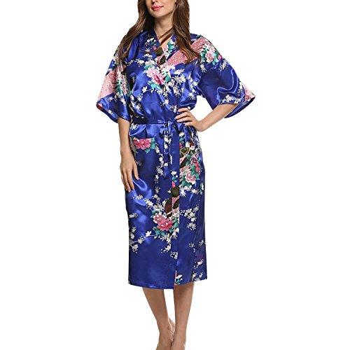 Asskyus Traje de Kimono de Robe Largo del sueño de Las Mujeres, Albornoz del Pavo Real y Flores del Traje Floral (XXXL, Azul Real)