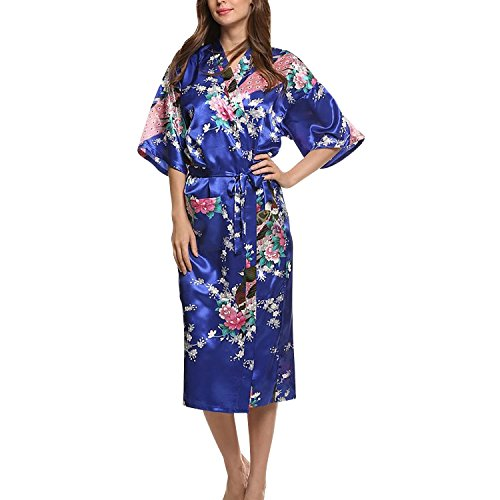Asskyus Traje de Kimono de Robe Largo del sueño de Las Mujeres, Albornoz del Pavo Real y Flores del Traje Floral (XL, Azul Real)