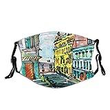 FULIYA Activated Carbon Antivento Face_mask_Protect Acquerello Sketch Style Disegnato a mano Scenario della città con edifici di architettura retrò, decorazioni facciali stampate per adulti