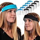 Salon World Safety 5-Black & 5-Blue Face Shields - Ultra Clear Protective Full Face Shields to Protect Eyes, Nose and Mouth - Anti-Fog PET Plastic, Elastic Headband - Sanitary Droplet Splash Guard