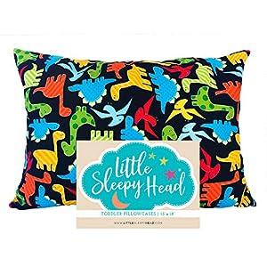 crib bedding and baby bedding little sleepy head toddler pillowcase 13 x 18 - 100% cotton & hypoallergenic ( dinosaurs)