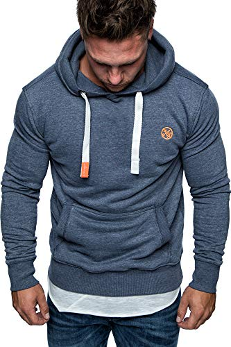 Amaci&Sons Herren Basic Logo Kapuzenpullover Sweatjacke Pullover Hoodie Sweatshirt 1-04028 Blau S