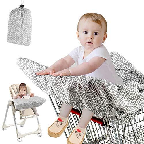 Aceshop Baby Einkaufswagen Abdeckung Universal Kleinkind Hochstuhl und Warenkorb Kissen mit Tragetasche, waschbar Kinderwagen weicher Organisatoren, Kindersicherheit (grau)