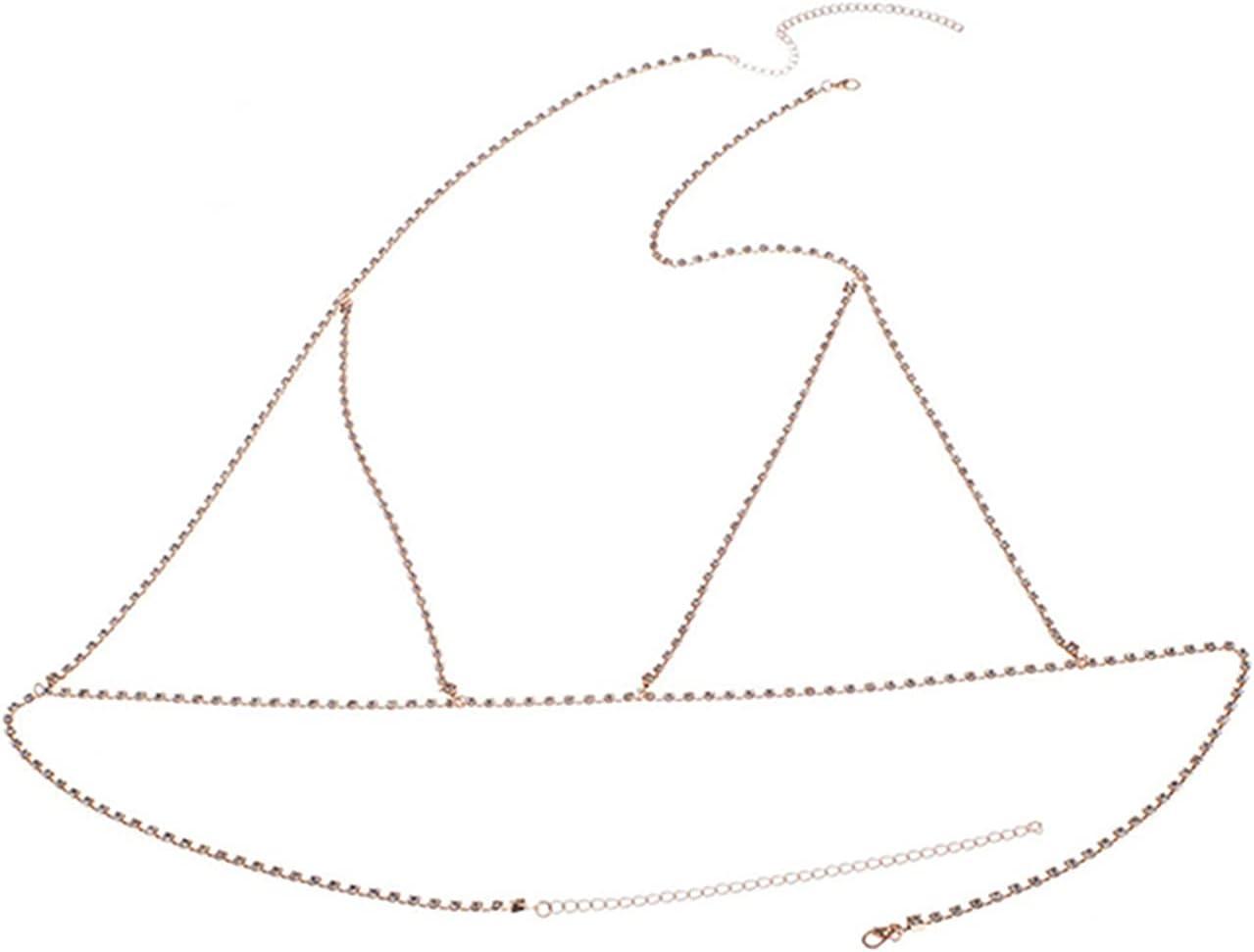 Sevenfly Beach Body Accessories Bohemian Chain Bra Sexy Shiny Luxury Rhinestone Bra Body Chains Body Jewelry Cross for Women,Golden