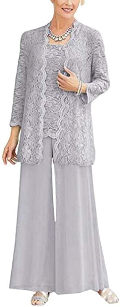 Women's Long Sleeve Lace Elegant Plus Size Outfit Mother of The Bride Pant Suit for Wedding