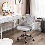 Irene House Velvet Fabric Computer Desk Chair Modern Mid-Back Tufted 360 Degree Swivel Adjustable Accent Home Office Task Chair Executive Chair with Soft Seat (1222-Grey)