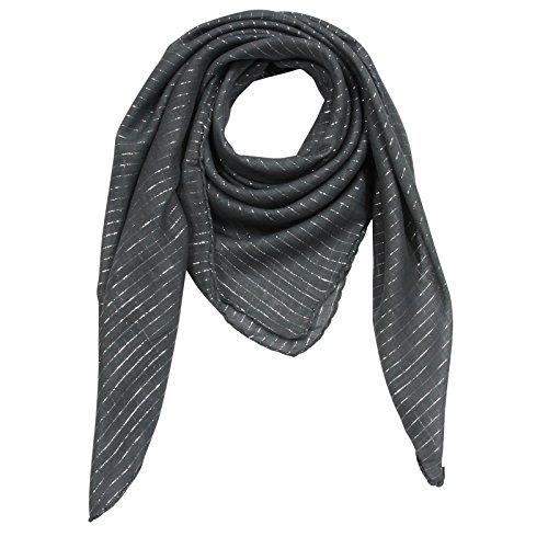 Superfreak® Baumwolltuch mit Silber Lurex - Tuch - Schal - 100x100 cm - 100% Baumwolle Farbe: grau-dunkel