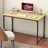 VERMESS Study Computer Desk Home Office Writing Small Desk,Black Metal Frame (31 inch, Natural)