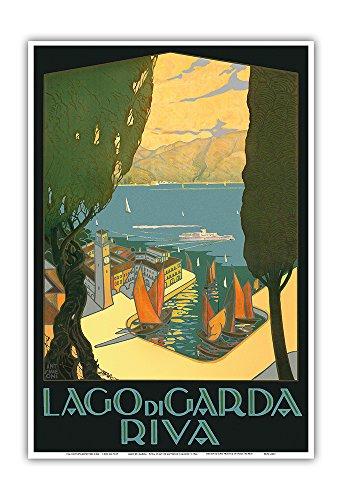 Lago di Garda (Lake Garda) - Riva, Italy - Vintage World Travel Poster by Antonio Simeoni c.1926 - Master Art Print - 13in x 19in