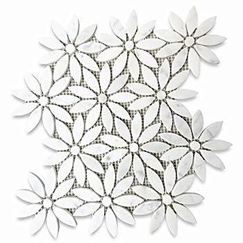 Stone Center Online Carrara White Marble Daisy Field Flower Waterjet Mosaic Tile Polished for Kitchen Backsplash Bathroom Flooring Shower Surround Dining Room Entryway Corrido Spa  1 Sheet