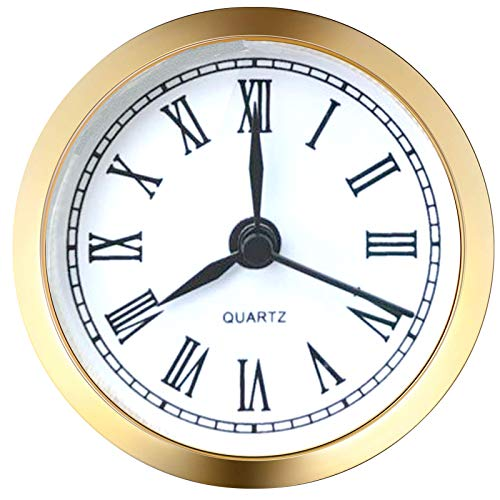 HILLHOME Mini Quartz Clock Insert Round Quartz Clock Fit-up Movement Miniature Clock White Dial Gold Trim (2.4 inch/61mm)
