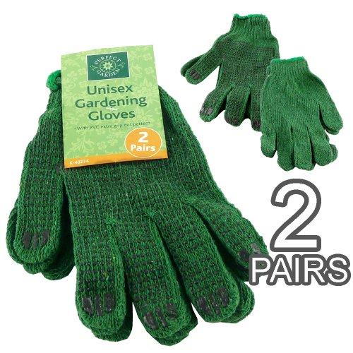 Unisexe de 2 Paires de gants de jardinage à pois Motif Grip en PVC ultra léger et lavable