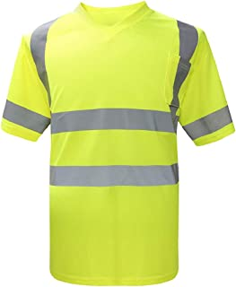 Reflective Safety Tee, High Visibility Short Sleeve T-Shirts with a Left Chest Pocket ANSI Class 3