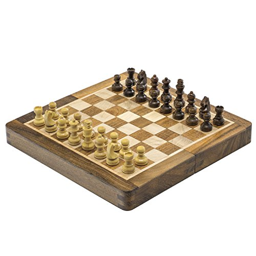 Sheesham & Boxwood 7 inch Magnetic Mini Inlaid Chess Set