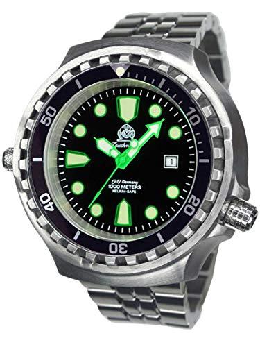 Tauchmeister Reloj de buceo XXL T0327M 100 ATM correa de acero inoxidable 52 mm