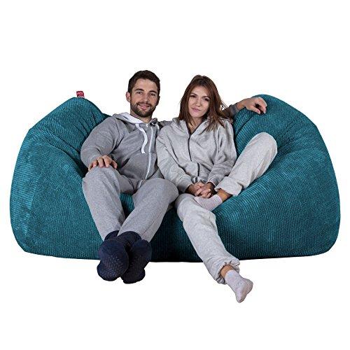 Lounge Pug®, Riesen Sitzsack Couch, Sitzsack Sofa, Pom-Pom Türkis