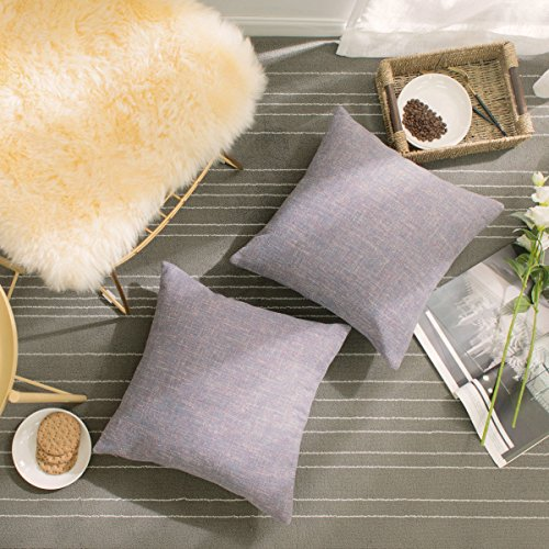 HOME BRILLIANT Cushion Covers Set 2 Pack Linen Chenille Blend Textured Home Decor Pillow Covers Accent for Sofa Couch Bed, 18x18 inches, Lavender