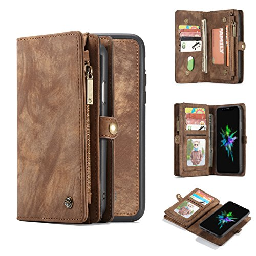 iPhone 8 Plus Wallet Case,AKHVRS Handmade Premium Cowhide Leather Wallet Case,Zipper Wallet Case [Magnetic Closure]Detachable Magnetic Case & Card Slots for iPhone 7 Plus & iPhone 8 Plus - Brown