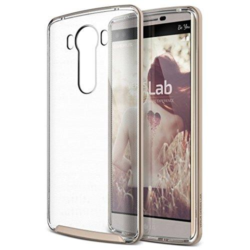 LG V10 Hülle Handyhülle, VRS Design LG V10 Hülle [Crystal Bumper] Extra Slim Fit Schutz Hülle Hülle Cover | Shine Gold
