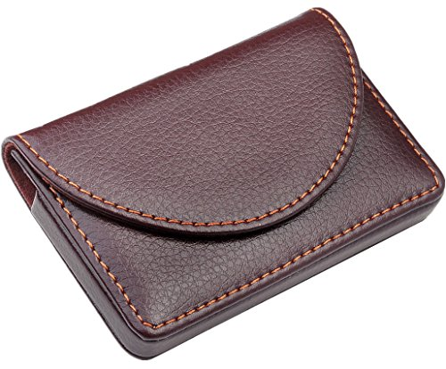 Ayliss Business Card Holder Stainless Steel Leather Magnetic Shut Card Case Brown