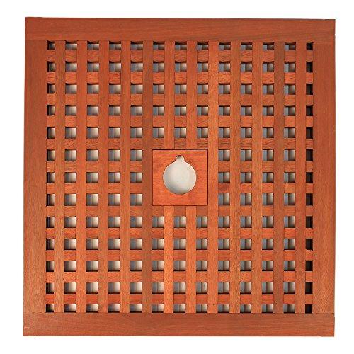 DELSCHEN Abdeckung für Sonnenschirmständer Sonnenschirmständer-Abdeckung Abdeckhaube aus Tatami 600 x 600 mm Verschiedene Lochdurchmesser – Art. 810-823-39