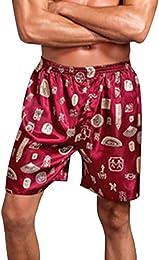 Bas de Pyjama Short Homme en Satin Décontracté sou