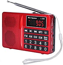 LCJ Portable FM AM Shortwave Multiband Radio Receiver with Micro TF Card and USB Driver MP3 Player USB Charging Cable 1000MAH Rechargeable Li-ion Battery (L-258-Red)