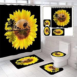 "BOISTAR 4 Piece Elephant Sunset Sunflower Shower Curtain Sets with Non-Slip Rugs,Toilet Lid Cover,Bath Mat,Shower Curtain Sets with Rugs and Accessories,Bathroom Decor Shower Curtain Sets,70.8"" L"