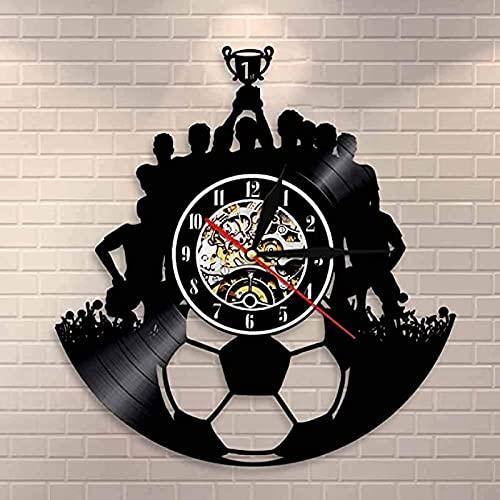 SHILLPS Fútbol Disco de Vinilo Reloj de Pared Decoración de Pared Equipo de fútbol Campeón Arte de la Pared Deporte Disco de Vinilo Vintage Reloj Triumph Souvenir Gift con LED