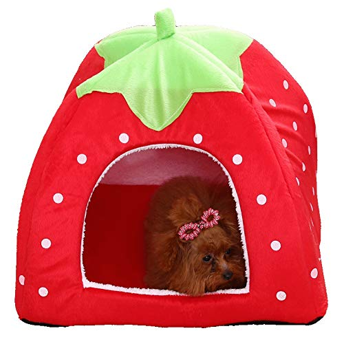 DOGKLDSF hondenbed willekeurige kleur mode zachte hondenmand aardbei vorm mooi hondenbed warm koord leuke kat huis mooi huisdierbed voor katten en kleine honden, willekeurige kleur, 43X43X45
