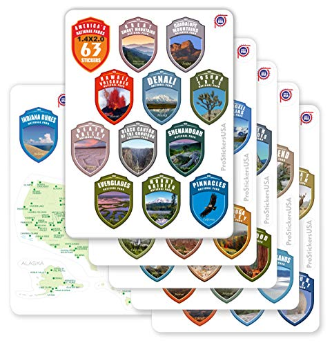 1.4 x 2.0' Shields Collection Stickers Set National Parks USA | 62 Stickers...
